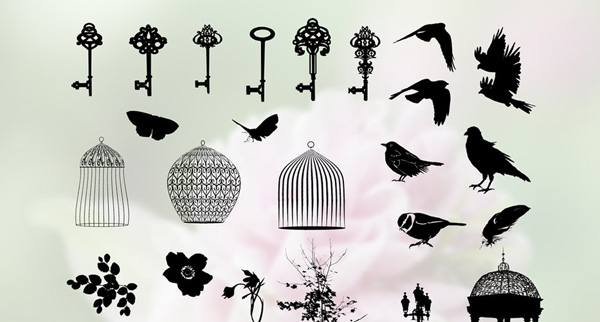 photoshop custom shapes, photoshop bird shapes, photoshop csh download, custom shape download,