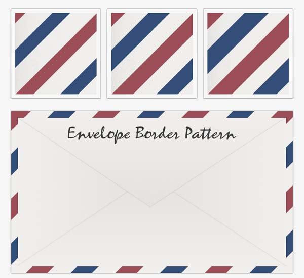 air mail emvelope, envelope border pattern, red white blue stripe pattern,