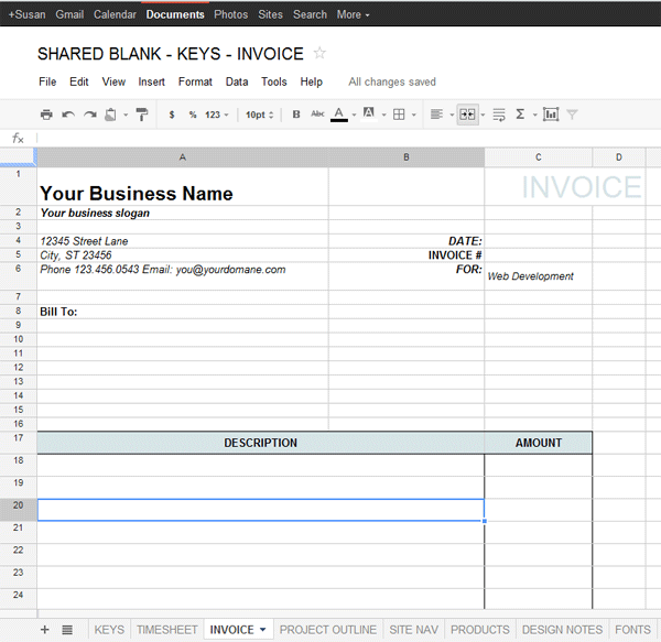 Google Docs Template For Freelance Data Amp Project