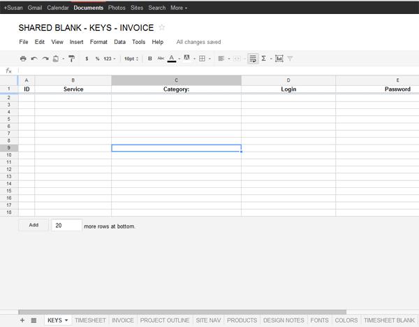 google docs template for freelance data project management starsunflower studio blog. Black Bedroom Furniture Sets. Home Design Ideas