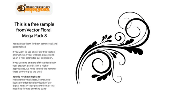 free vectors, free floral swirl vector,