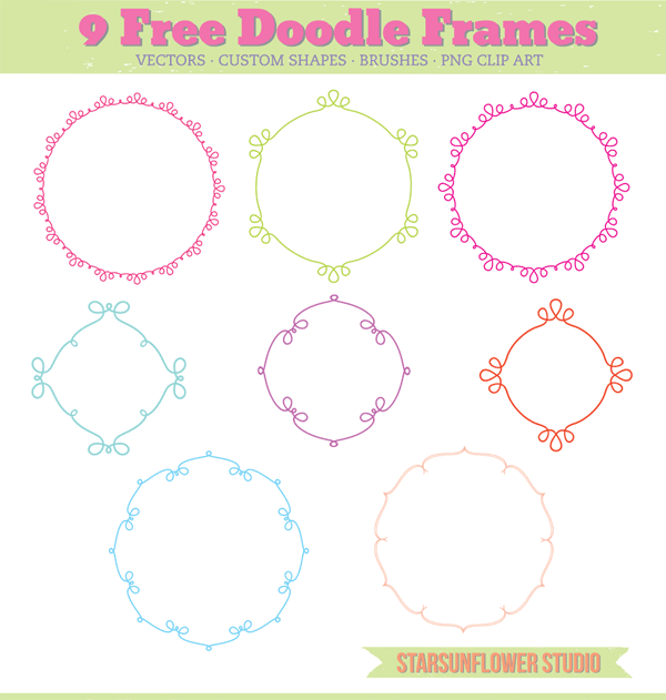 Free Doodle Frames with Custom Shapes Vectors, Brushes ...
