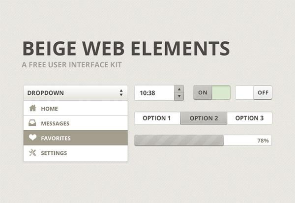 Free UI PSD Beige Web Elements