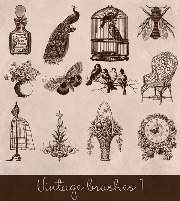 butterfly brush, Birdcage brush, bee brush, dress form brush, perfume brush, cologne brush, floral clock brush, vintage digital stamp