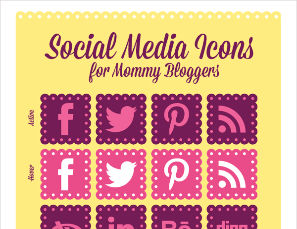 social icons, social media icons, girly icons, feminine icons, cute icons, mommy blogger icons, free social icons