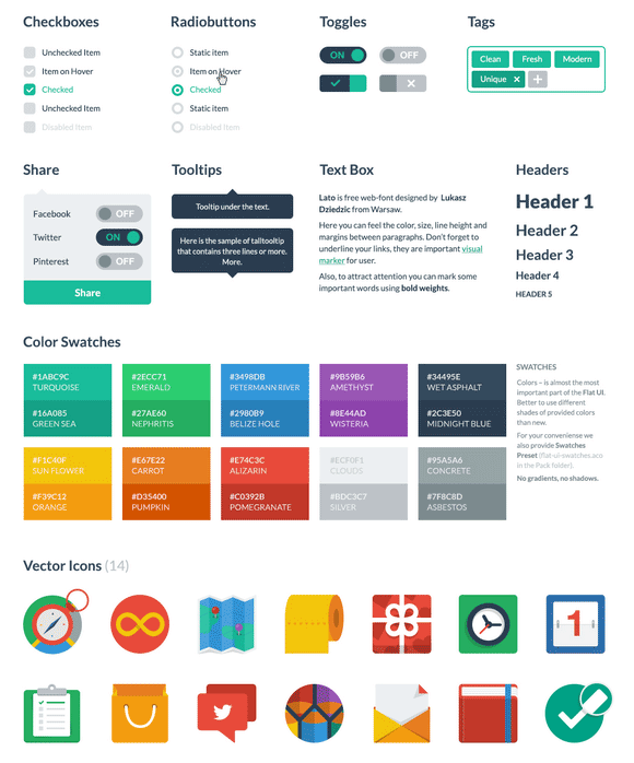 resources for flat design, flat design css styles