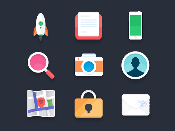 free icon set, flat ui, icon design, mobile icons, rocket icon