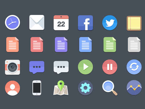 flat ui, skeuomorphism, free icons, minimal design