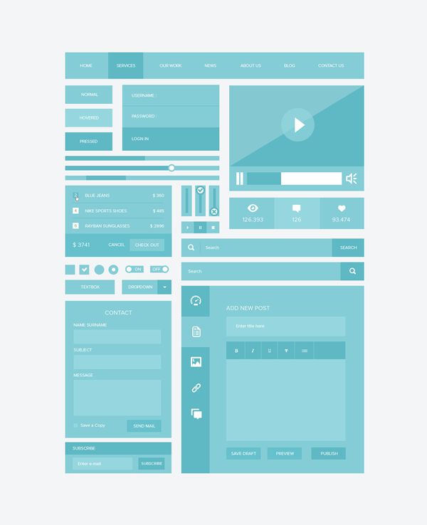 blue ui, blue user interface, free psd