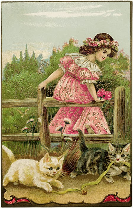 free, vintage, post card, postcard, kittens, girl, pink, green, antique