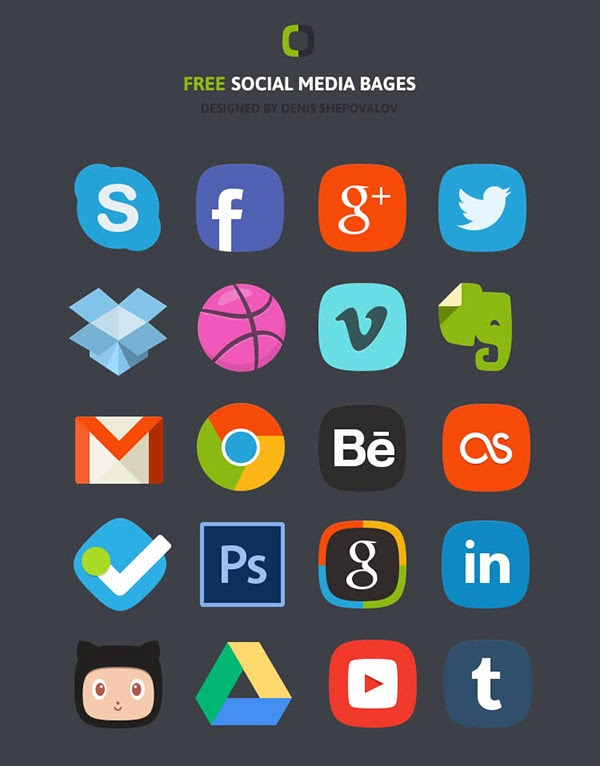social icons, social buttons, skype, facebook, google plus, G+, twitter, dropbox, dribble, vimeo, evernote, gmail, chrome, behance, last fm, foursquare, Photoshop, Linkedin, Octocat, Github, Google Drive, Youtube, Tumblr