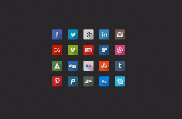 long shadow, icons, social media, flat icons,