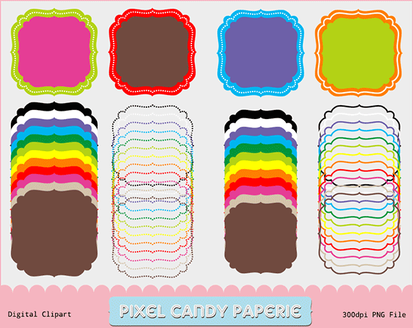 scalloped frames, rainbow borders, frame borders,  free clip art