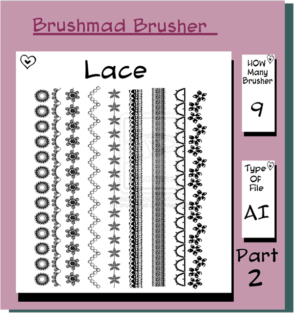 illustrator brushes, lace brushes, scallop brushes, flower brushes