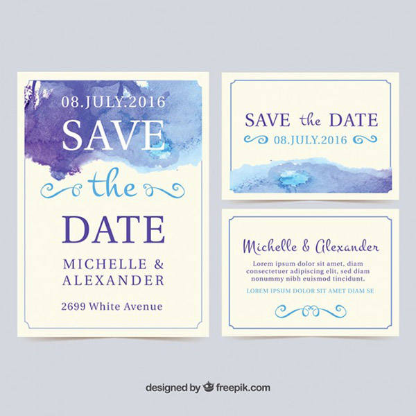 Holiday Invitation Templates - Watercolor Wedding Design