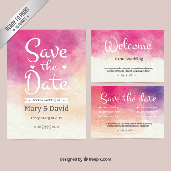 Printable Wedding Invite - Watercolor Vector