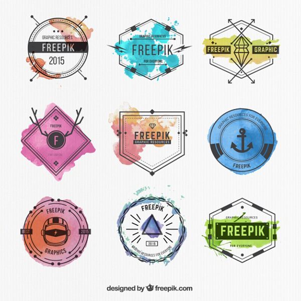 Vector Art Stock - Watercolor Hipster Badges