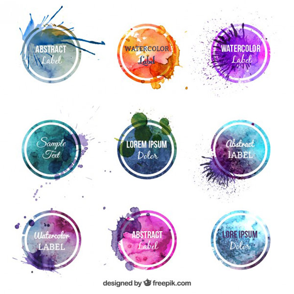 Vector Art Work - Watercolor Circles Logos