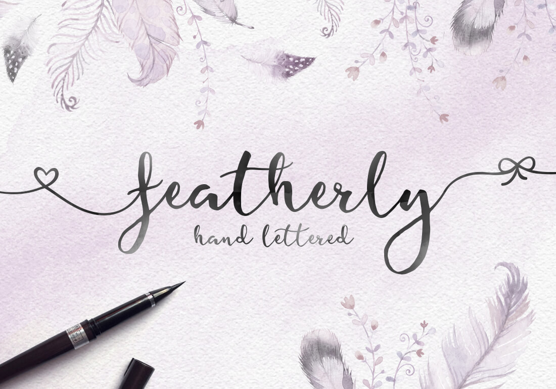 featherly handlettered