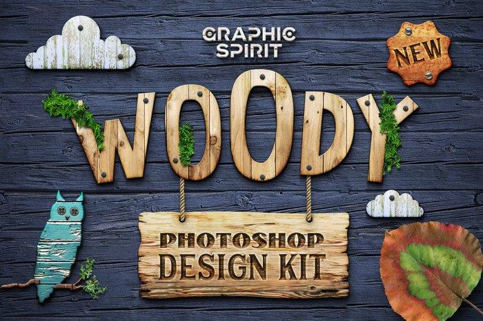 Woody Photoshop Design Kit
