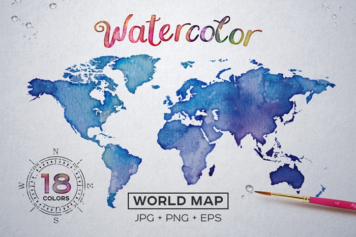 Watercolor Map Set for Photoshop