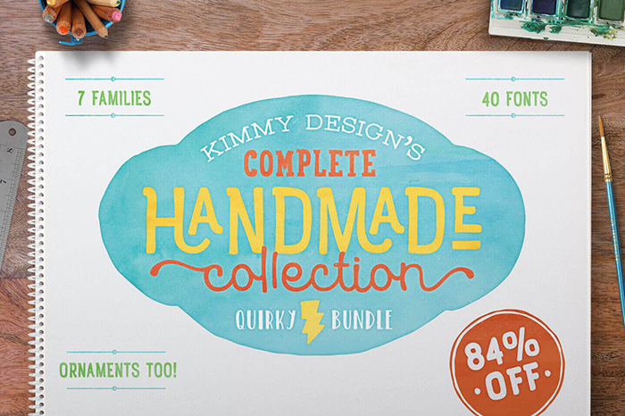 Collection of 40 Unique Handmade Fonts from Kimmy Design