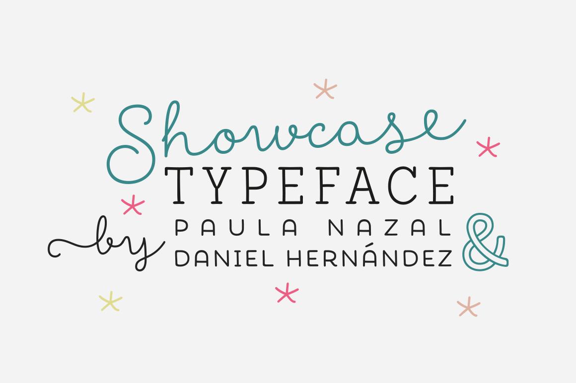 Showcase Font Family (7 Friendly Fonts + 1 Ornament Set)